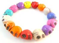 Quirky Vibrant Skull Bead Stretch Bracelet.